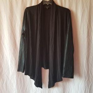 Karen kane black faux leather sleeve cardigan